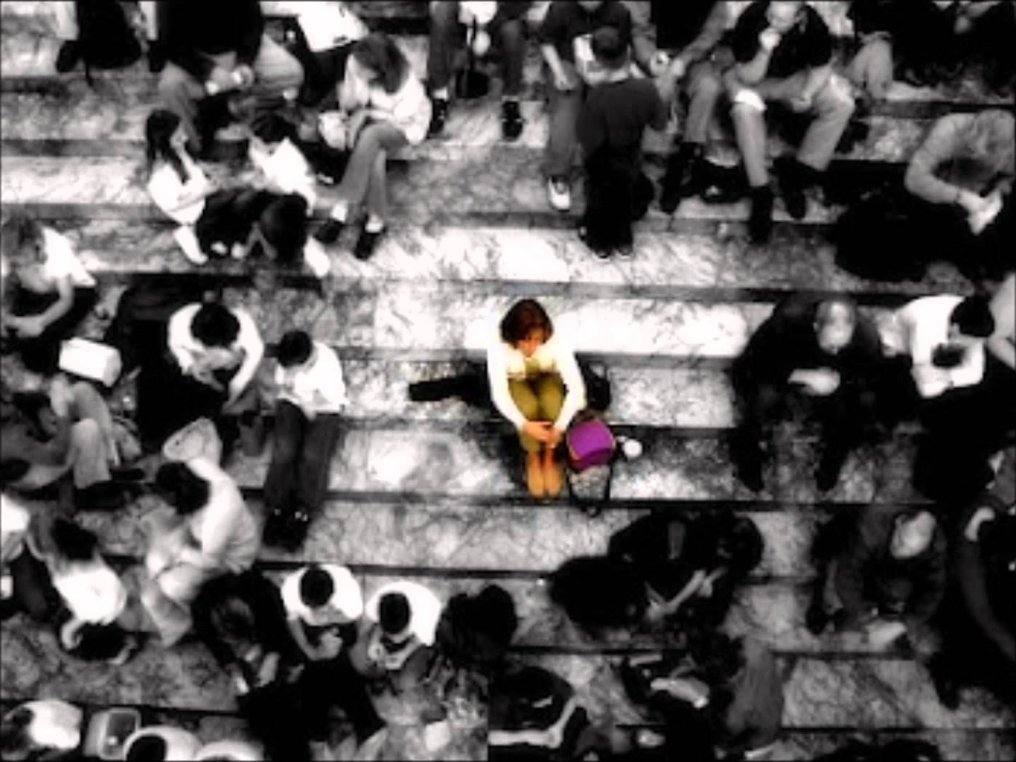 Woman lost in a crowd